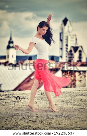 Young woman outdoors portrait. - stock photo