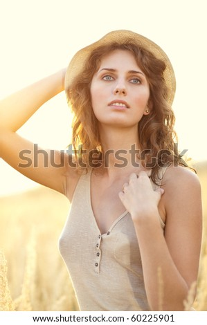 Young woman outdoors portrait. Sunset light. - stock photo
