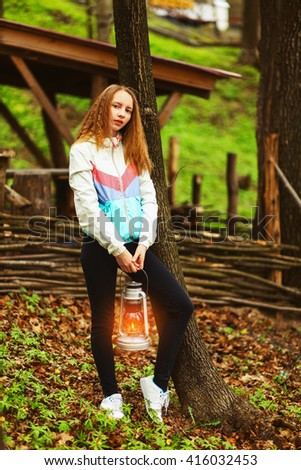 Young woman portrait happy on the outdoors. - stock photo