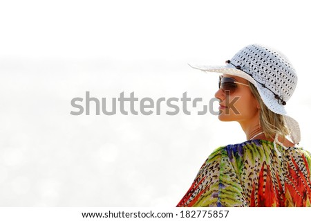 young woman portrait outdoor in summer sunny day - stock photo