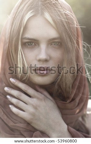 Young woman portrait. Soft colors. - stock photo