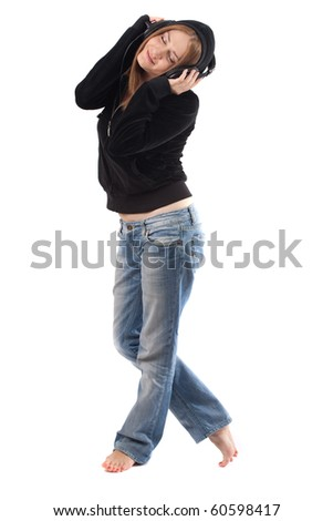 young woman posing and wearing headphones,isolated on white - stock photo