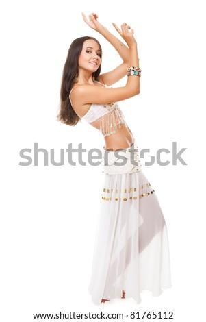 young woman posing arabic belly dance. studio shot. - stock photo
