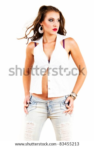 Young woman posing - hi contrast - stock photo