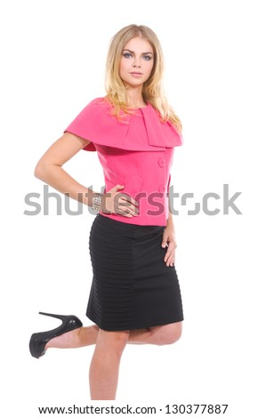 Young woman posing on white background - stock photo