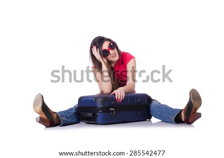 Young woman preparing for summer vacation - stock photo