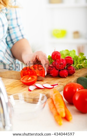 Young woman preparing vegetable salad .Cutting tomato and other vegetables. - stock photo