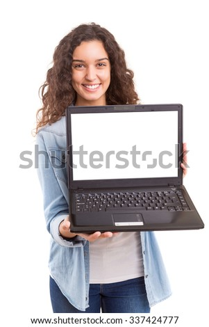 Young woman presenting your product in a laptop computer - stock photo