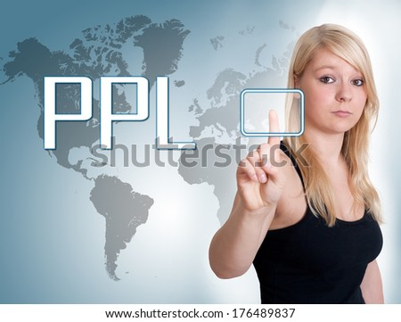 Young woman press digital Pay per Lead button on interface in front of her - stock photo