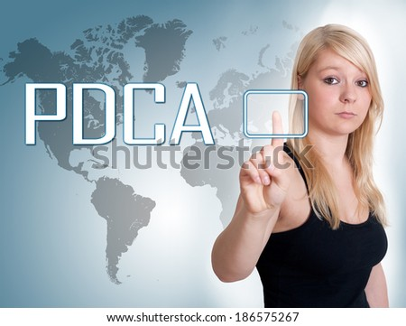 Young woman press digital Plan Do Check Act button on interface in front of her - stock photo
