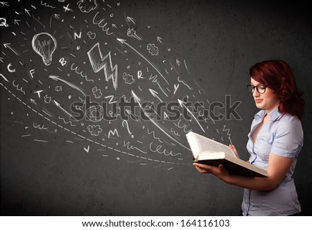 Young woman reading a book while hand drawn sketches coming out of the book - stock photo