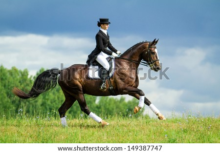 Young woman riding horse on the top of the hill. Equestrian sport - dressage. - stock photo