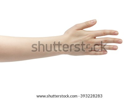 young woman right hand counting five isolated  on a white isolated background - stock photo