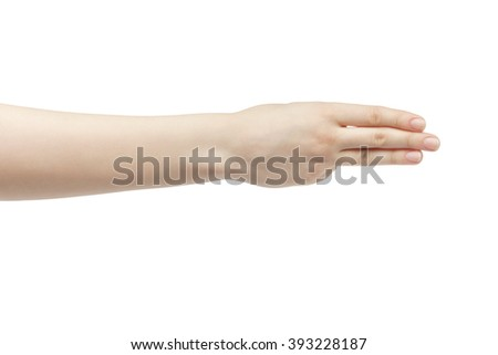 young woman right hand counting three isolated  on a white isolated background - stock photo