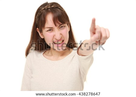 young woman scolding on white background - stock photo