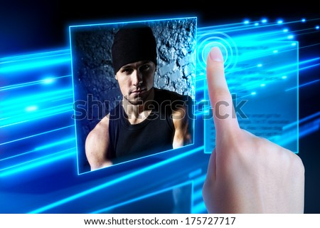 Young woman selecting friend in virtual space. - stock photo