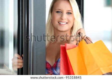 young woman shopping - stock photo