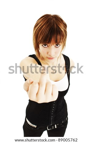 Young woman showing middle finger. Isolated over white background - stock photo