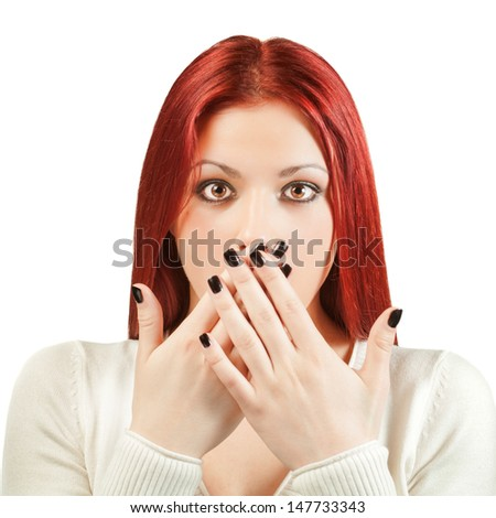 "Young woman showing ""Oops"" gesture. - stock photo"