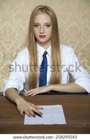 young woman showing that the contract is bad - stock photo
