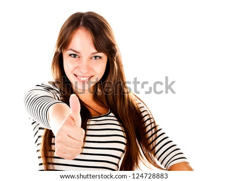 young woman showing thumb up isolated on a white background - stock photo