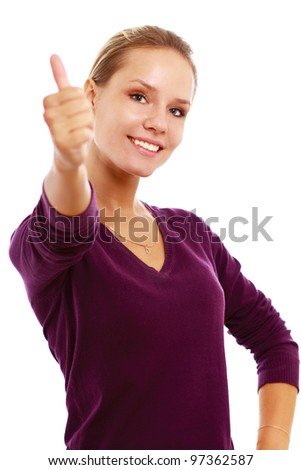Young woman showing thumb up, isolated on white background. - stock photo