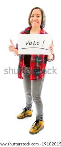Young woman showing thumbs up with vote sign - stock photo