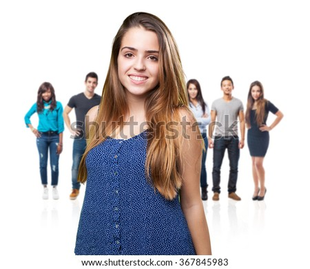 young woman smiling over white background - stock photo