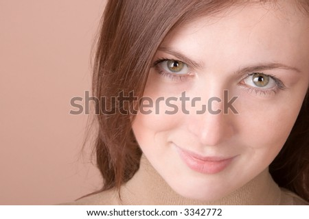 Young woman smiling - portrait isolated on white - stock photo