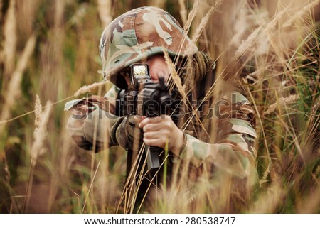 young woman soldier member of ranger squad - stock photo