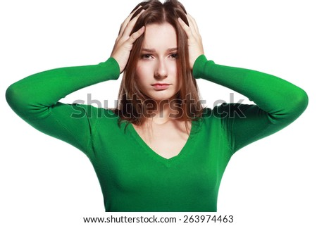 Young woman stressed have a head pain and feels - stock photo