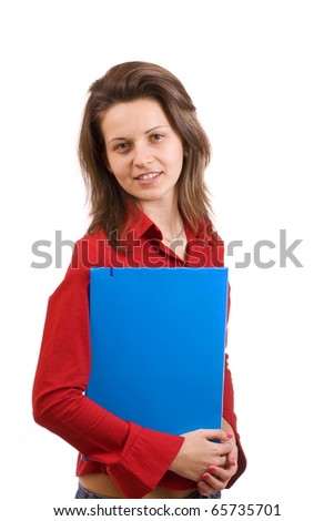 Young woman student looking in camera, isolated on white background - stock photo