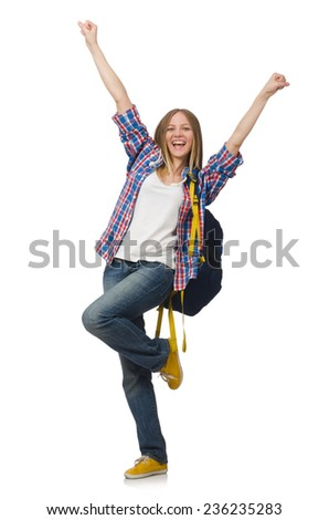Young woman student with backpack isolated on white - stock photo