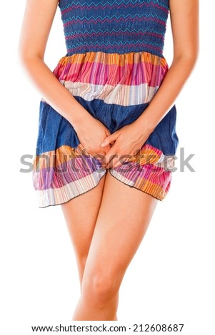 Young woman suffering from itching vaginal thrush. - stock photo