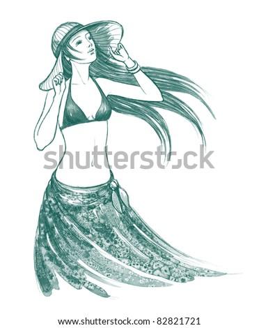 young woman sunbathing - stock photo