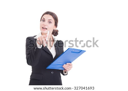 Young woman supervisor or inspector holding clipboard and pointing index finger to the camera isolated on white background - stock photo