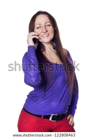 Young woman talking on the phone - stock photo