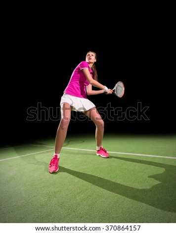 Young woman tennis player isolated - stock photo