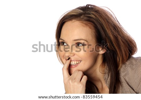 Young woman thinking happy thoughts - stock photo