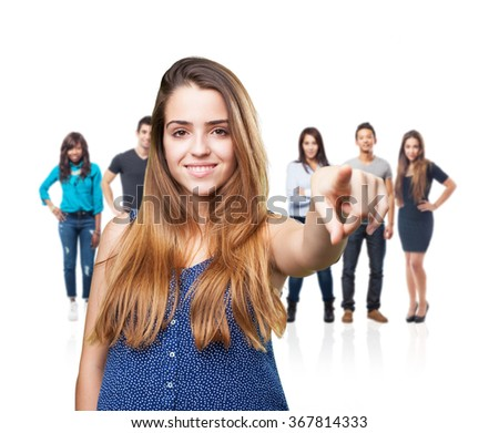 young woman thinking over white background - stock photo