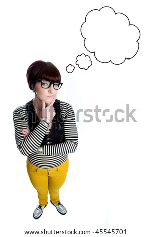young woman thinking with thought bubble - stock photo