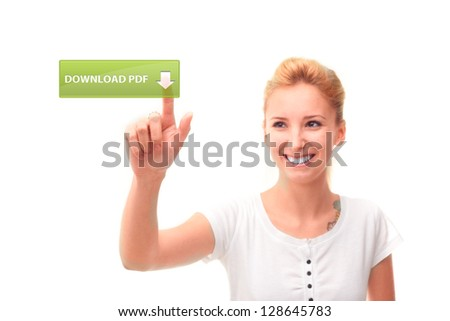 Young woman touching download pdf on the screen - stock photo