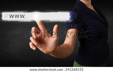 Young woman touching web browser address bar with www sign  - stock photo
