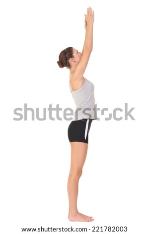 Young woman training yoga - stock photo