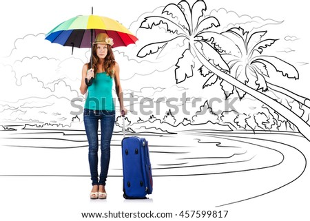 Young woman travelling tropical island in travel concept - stock photo