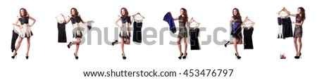 Young woman trying new clothing on white - stock photo