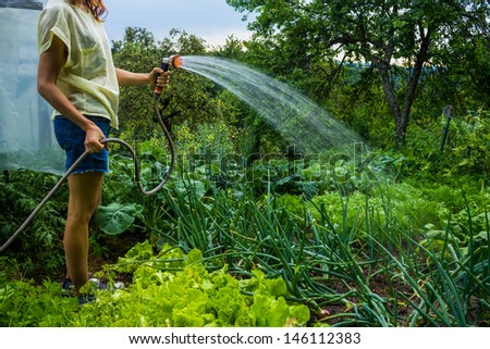 Young woman watering her garden - stock photo