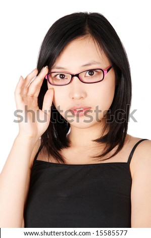 Young woman wearing a pink glasses - stock photo