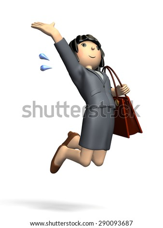 Young woman wearing a suit. isolated,, computer generated image - stock photo