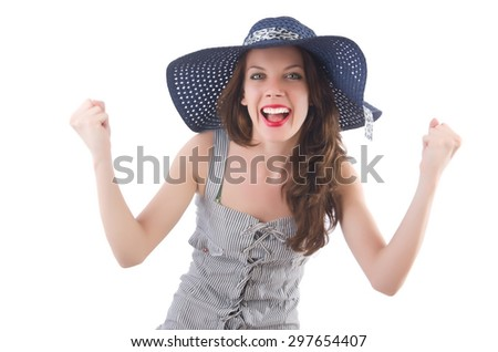 Young woman wearing hat and gray striped dress isolated on white - stock photo